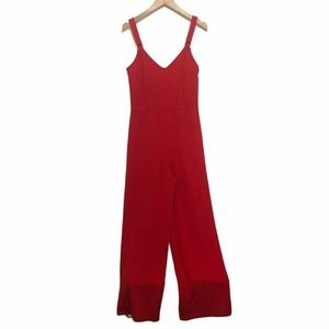 Bar III O Ring Jumpsuit Red Sleeveless Size 8